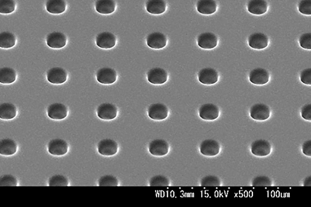 PDMSパターン ウェル形状 φ20μm 40μmピッチ 深さ50μm