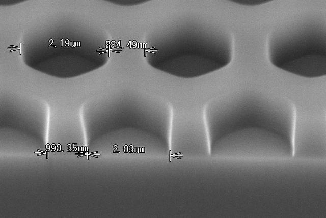 フォトリソ加工例 ハニカム断面形状
